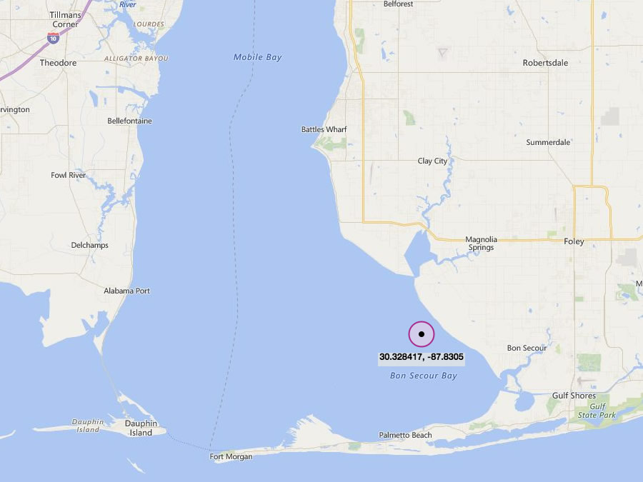 Fish River Reef - Artificial fishing reef spot in Mobile Bay located a short distance to the South of mouth of Weeks Bay. This reef has recently been enhanced with 4,809 cubic yards (6,203 tons) of gabion stone (2014-2016) by AMRD (Alabama Marine Resources Division).